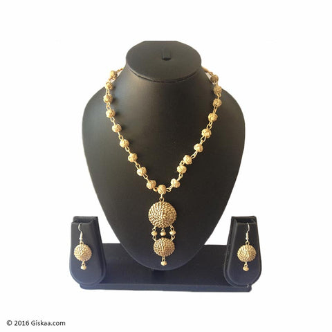 Pearl Drops Handmade Necklace And Earrings Set With Japi Work