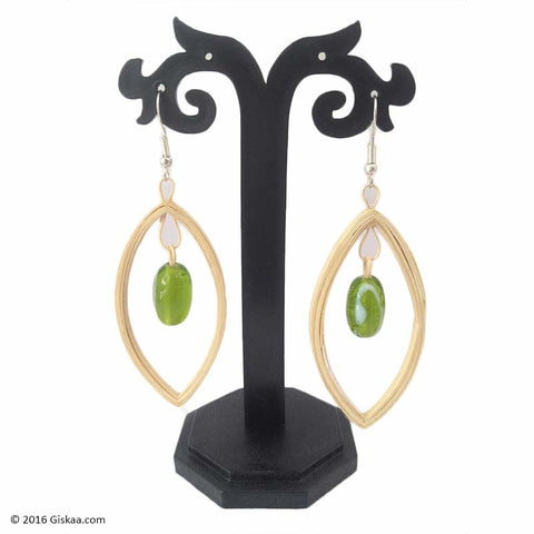 Dew Drops Handmade Earrings with Green Beads
