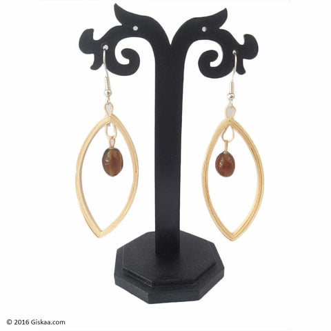 Dazzling Brown Handmade Oval Shape Earrings