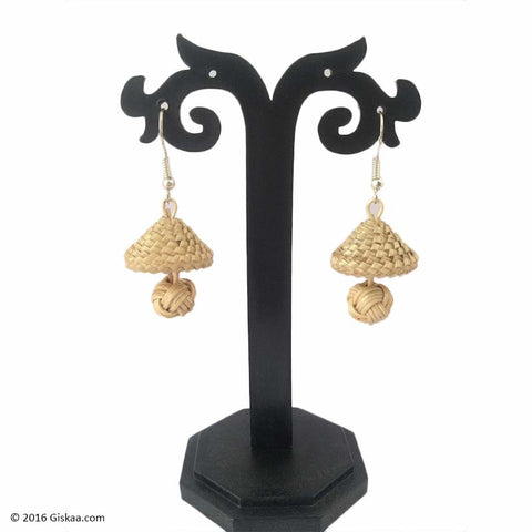 Dazzling Drops Handmade Bamboo And Cane Earrings