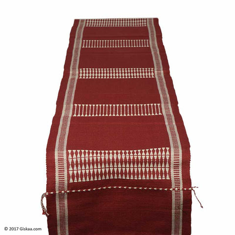 Chizami Weaves Handwoven Table Runner- Red And White