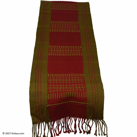 Chizami Weaves Handwoven Table Runner- Red And Green