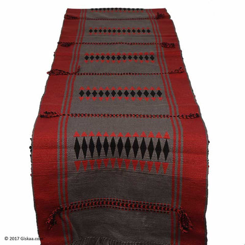 Chizami Weaves Handwoven Table Runner- Red And Black
