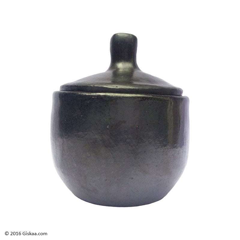 Sugar or Salt Container - Black Pottery