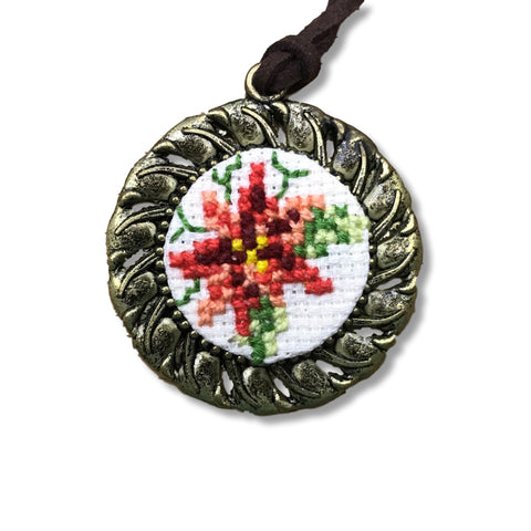 "Necklace ""Cross Stitching Flower"""