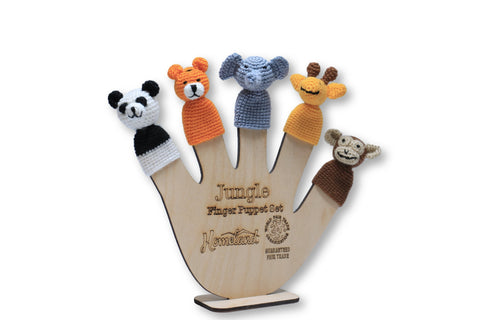 Jungle Crocheted Finger Puppets