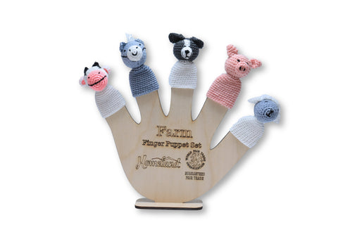 Farm Crocheted Finger Puppets