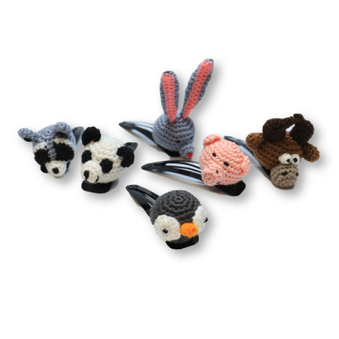Crocheted Animal Hair Clips