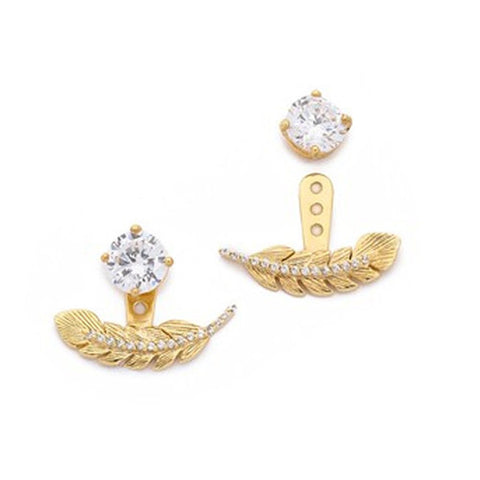 Gold Leaf Ear Jacket Studs