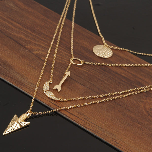 Arrow and Coin Multi-Layered Necklace