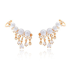 CZ Pearl Drop Ear Jacket Studs