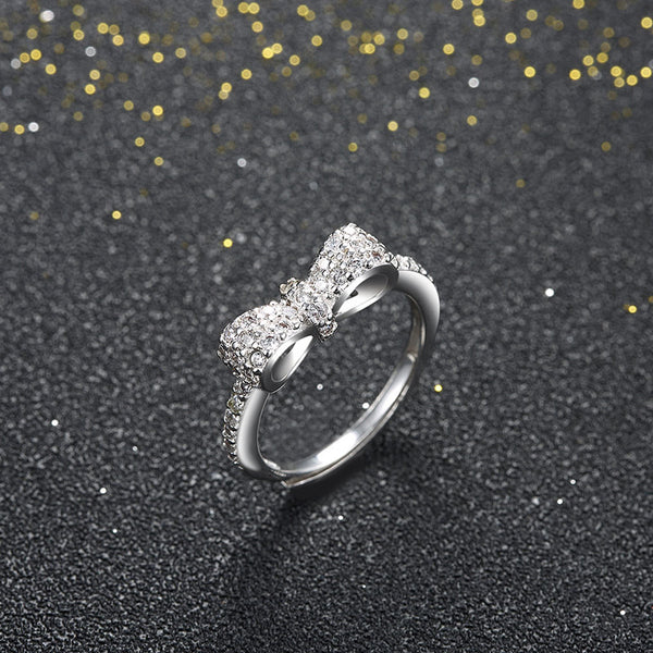 K  Crystal Bow Tie Ring- Save Up To 20%