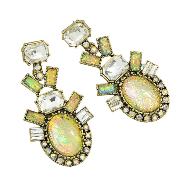 Opal Water Drop Crystal Earrings