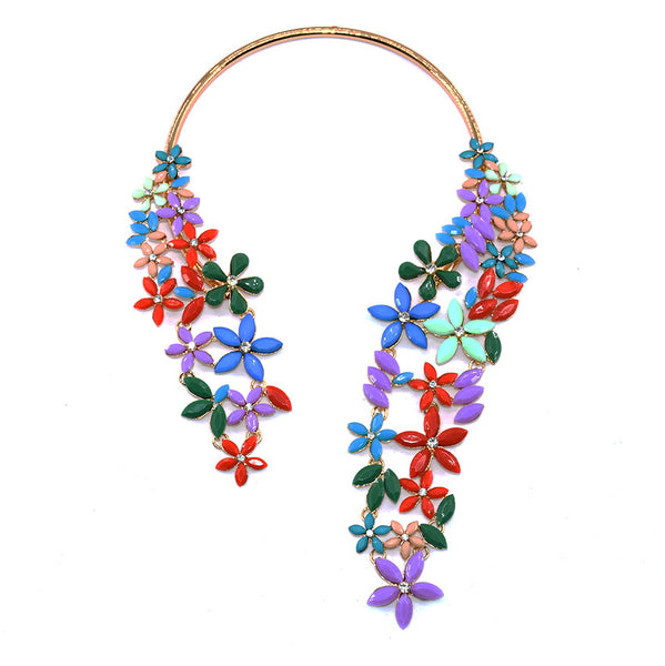 S Crystal Flower Wrap Necklace