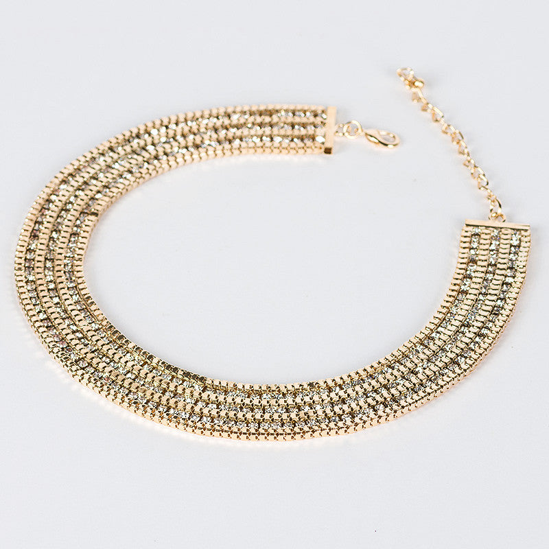 CZ Gold Bib Necklace- Save Up to 40%