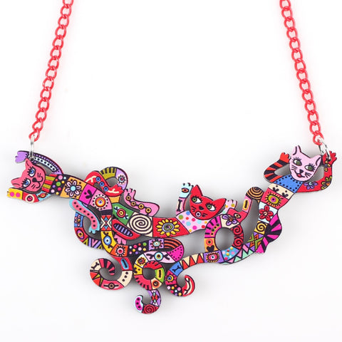 Colorful Abstract Cat Necklace