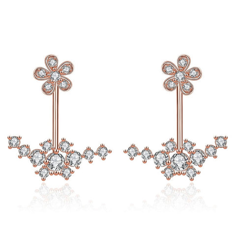 Flower Drop Jacket Earrings