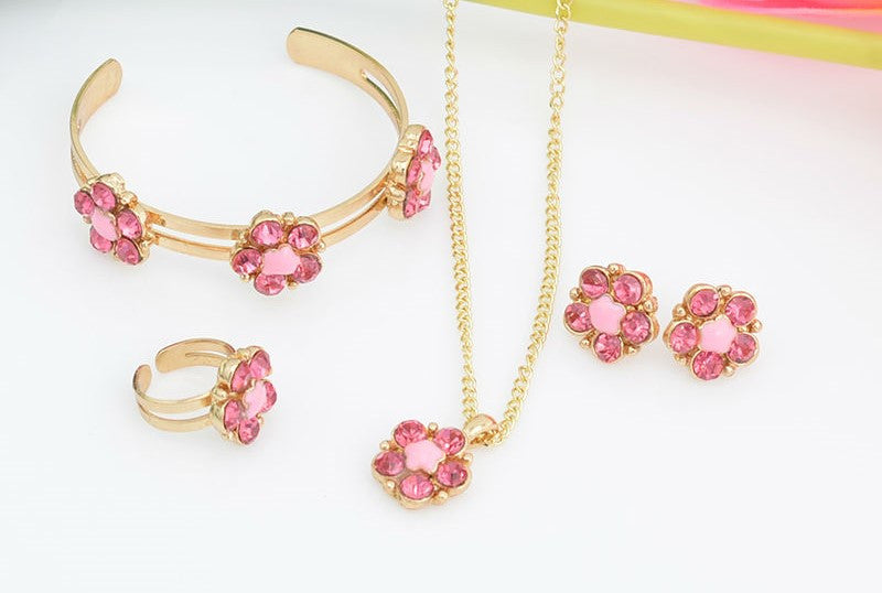 Baby Femmi-18k Gold Plated Pretty In Pink  Jewelry Set