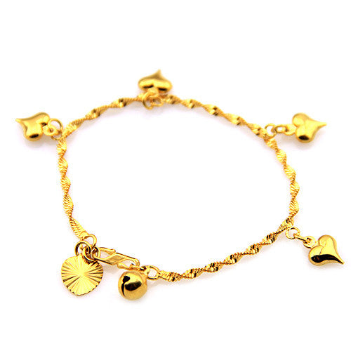 Baby Femmi-18K Gold Filled Heart Shaped Charm Bracelet