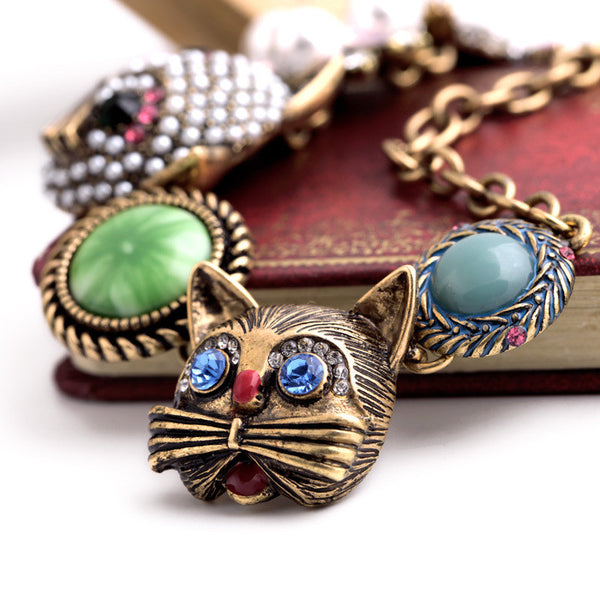 Bronze Pearl Cat Bracelet