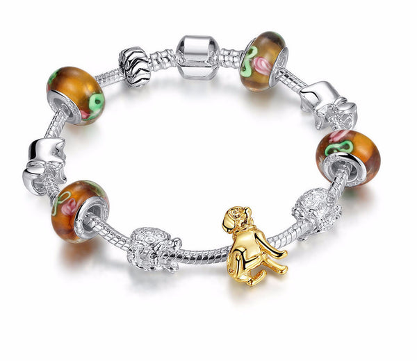 Golden Dog Charm Bracelet