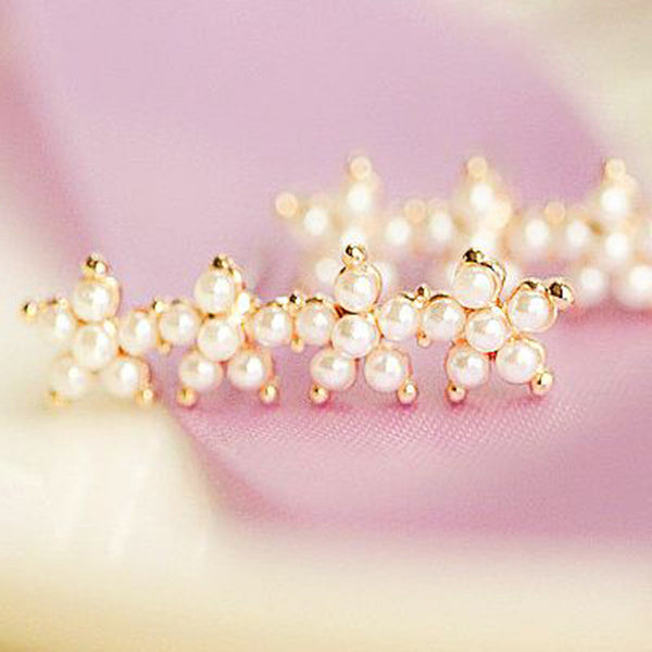 Pearl Flower Ear Climber Earrings- Save Up To 20%