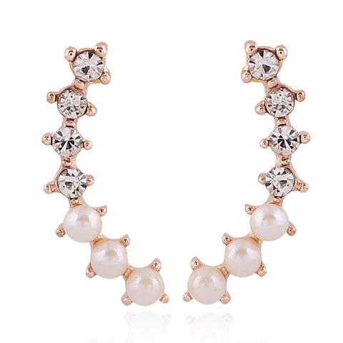 Crystal Pearl Ear Jacket Earrings