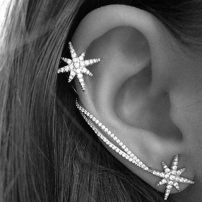 Asymmetrical Star Cuff Earrings