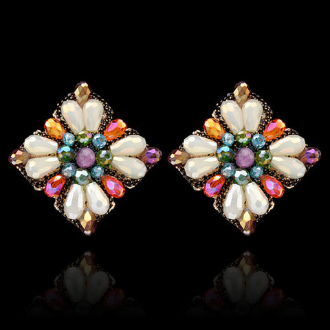 Retro Crystal Flower Studs