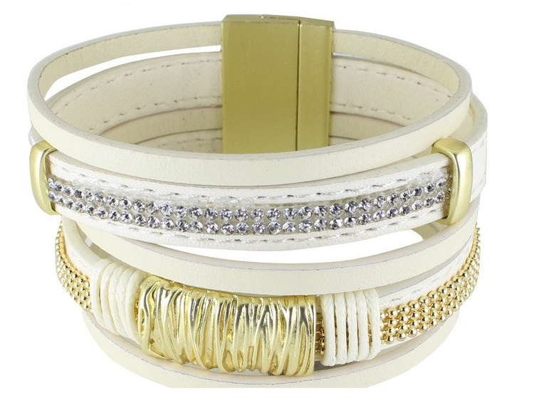 Multi-layer Leather Rhinestone Bracelets