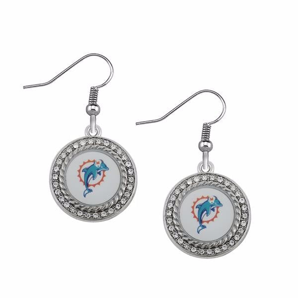 CZ Circle  Miami Dolphins Drop Earrings