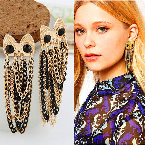 Chain Linked Owl Earrings