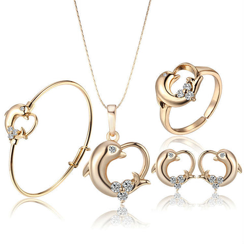 Baby Femmi-18K Gold  Plated Crystal Dolphin Set