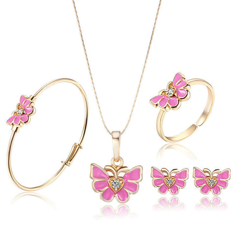 Baby Femmi-18K Gold Plated Pink Butterfly Set