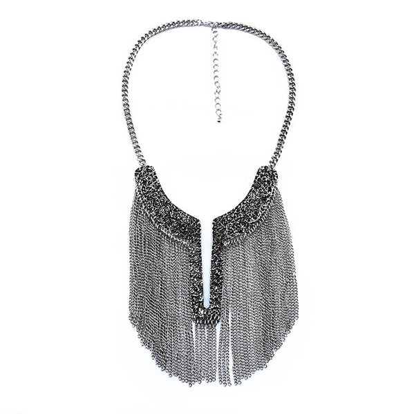 New -S Tassel Statement Necklace