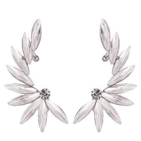 Crystal Oval Cuff Leaf Earrings- Save up To 20%