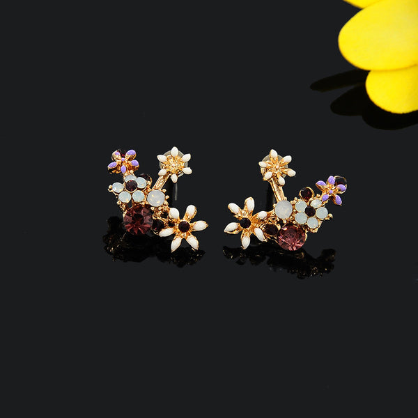 Flower Vine Ear Jacket Earrings
