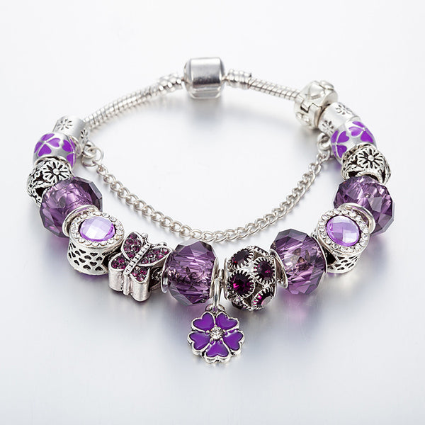Purple flower Charm Bracelet