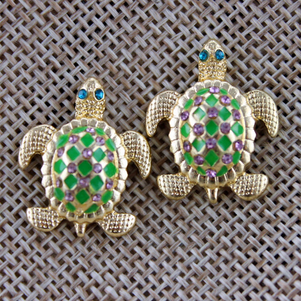 Crystal Turtle Studs- Marked Down 50%