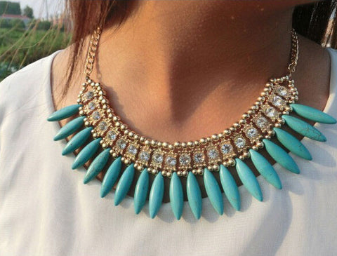 Crystal Point Bloom Statement Necklace