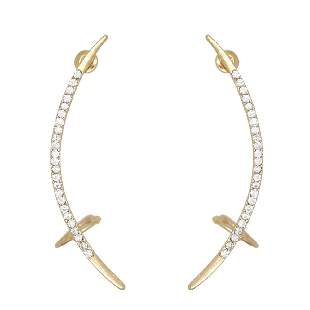 Crystal Cross Cuff Earrings
