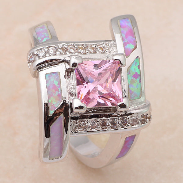 Pink Opal Square Ring