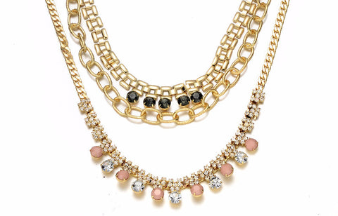 CZ Rhinestones Layer Statement Necklace