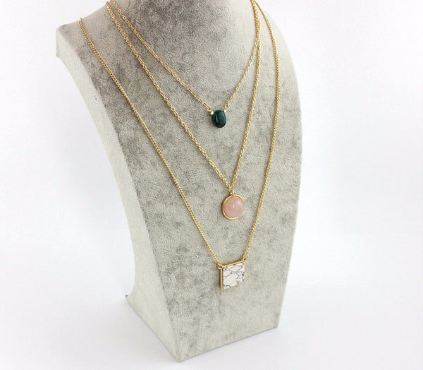 Quartz Stone Layer Necklace