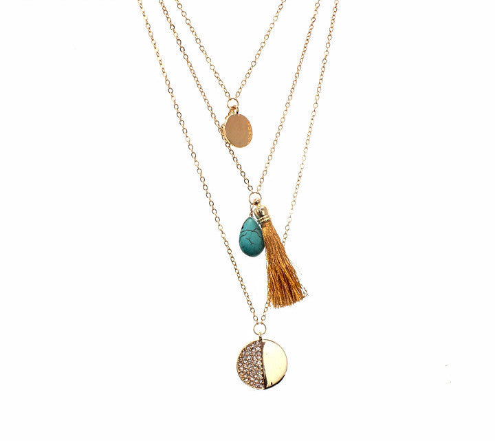 Tassel Coin Layer Necklace