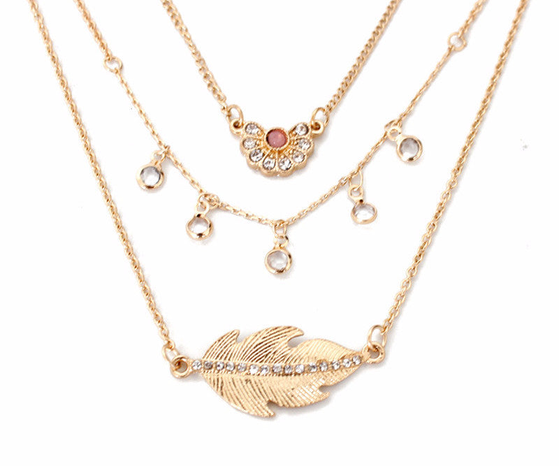 CZ Gold Leaf Layer Necklace