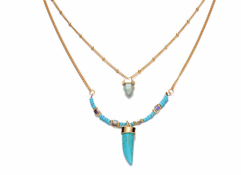 Turquoise Pendant Layer Necklace