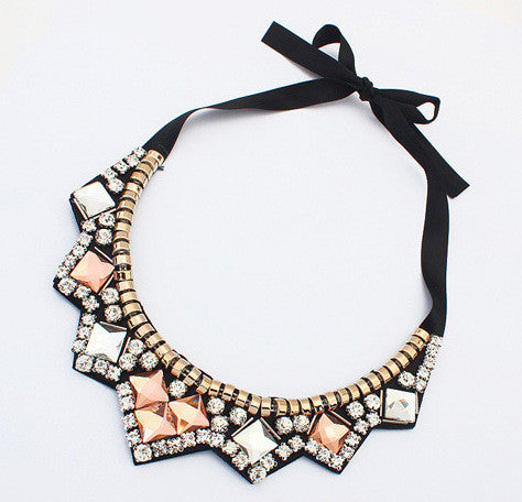 Crystal Pyramid Bib Necklace