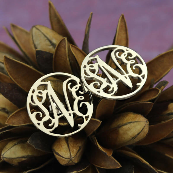 New Femmi Circle Monogram Studs