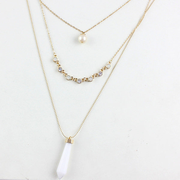 Quartz and Pearl Necklace